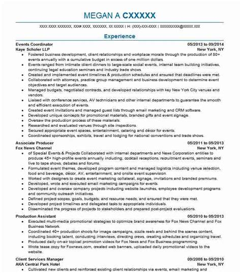 Event Coordinator Resume by Events Coordinator Resume Sle Resumes Misc Livecareer