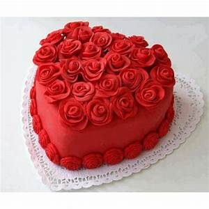Red velvet Heart shape premium quality 1 kg cake with red