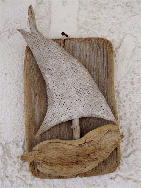 sculpture driftwood boats crochet sail boats