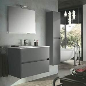 Salle de bain bois gris meilleures images d39inspiration for Meuble salle de bain gris anthracite pas cher