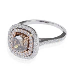 white gold halo engagement ring 1 98ctw cushion cut chocolate row gold halo engagement ring in 18k