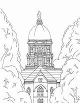 Notre Dame Dome Golden Printable Coloring Irish University Fighting Artwork Adult sketch template
