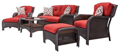 hanover strathmere 6pc patio set strathmere6pcred