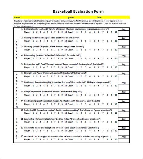 basketball player evaluation form word basketball player