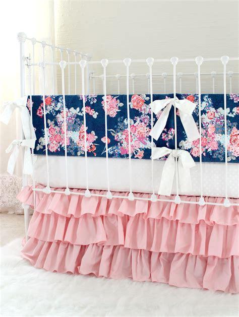 blush crib bedding blush and navy nursery bedding navy floral blush crib
