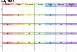 july 2016 blank weekly templates printable calendar