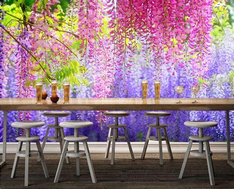 custom  wallpaper watercolor wisteria flower leaves