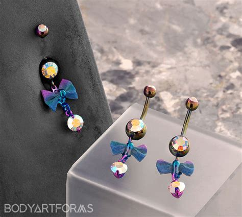 Color Coated Navel With Bow Dangle