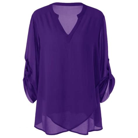 lavender blouses and tops plus size split neck adjustable sleeve blouse in purple