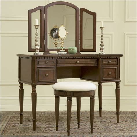 vanity desk with powell furniture vanity set in warm cherry makeup vanity