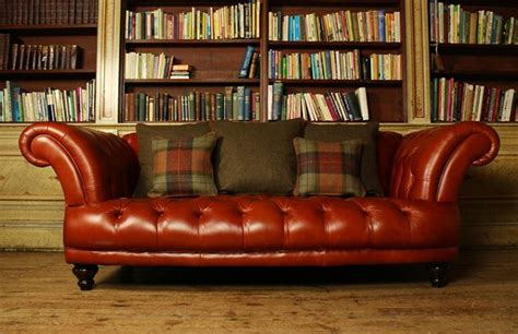 Second Settees For Sale by Edmund Vintage Brown Leather Sofa Chesterfield Company