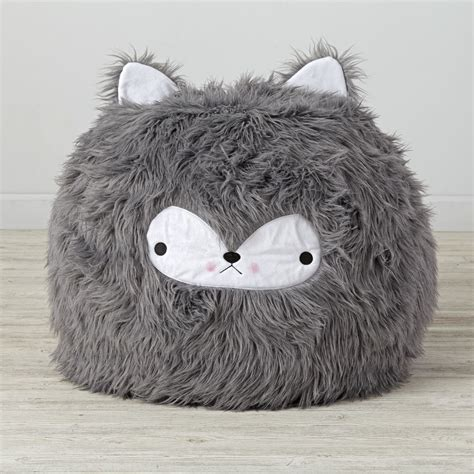 personalized faux fur wolf bean bag chair the land of nod