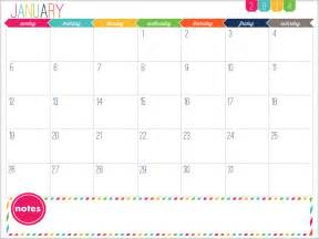 Monthly Calendar 2014 Printable 12 Month