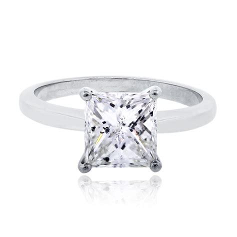 14k white gold 1 69ct princess cut diamond engagement ring