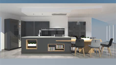 cuisine moderne avec îlot phénix gris anthracite et bois