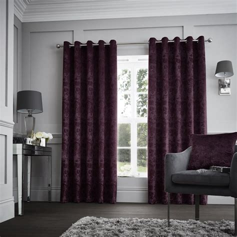 Luxury Designer Curtina Downton Velvet Heavy Weighted Lined Eyelet Top Curtains Plum/Purple BB