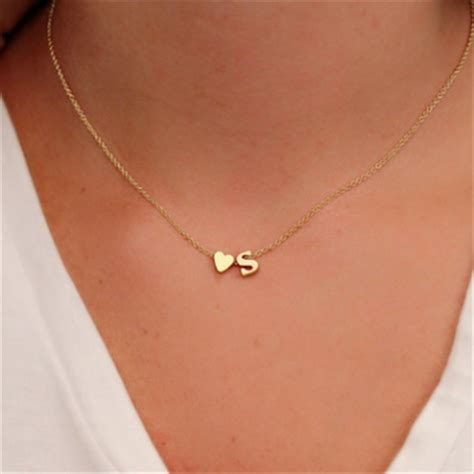 fashion tiny heart dainty initial personalized letter  choker necklace  women gold color