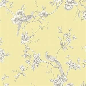 Shabby chic bird-on-branch wallpaper (yellow) - The Shabby