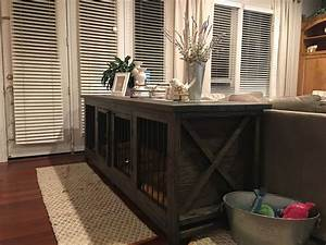 Farmhouse dog crate sofa table don39t like metal dog for Dog kennel sofa table