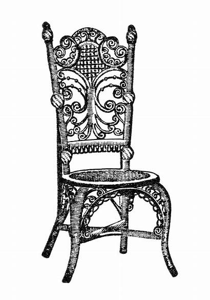 Chair Clip Furniture Clipart Outline Chairs Antique