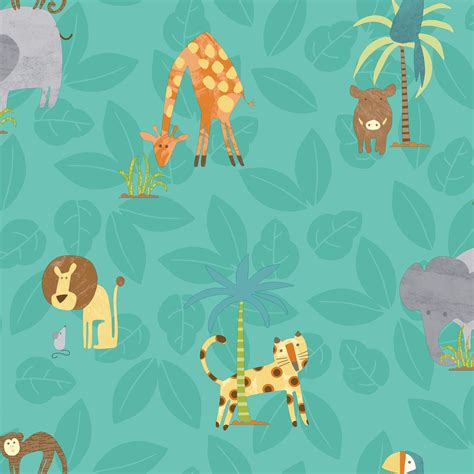 holden decor teal jungle animals matt finish wallpaper