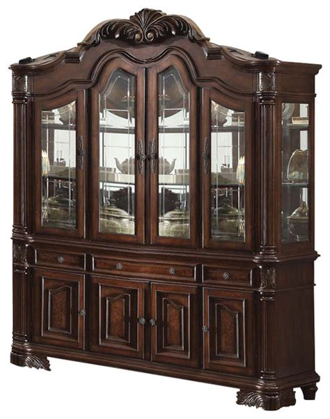 Cherry Buffet And Hutch - acme judith hutch and buffet in cherry transitional