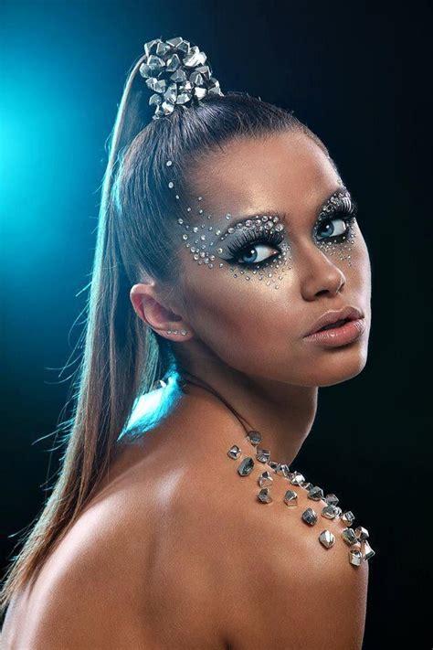 pretty silver eyemakeupideasnatural high fashion makeup creative makeup  futuristic makeup
