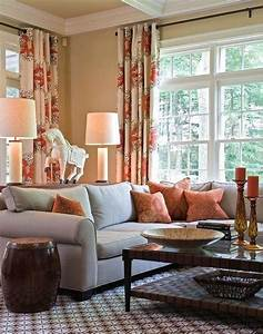 Cream living room with blue gray rich brown and rust red for Red and cream curtains for living room