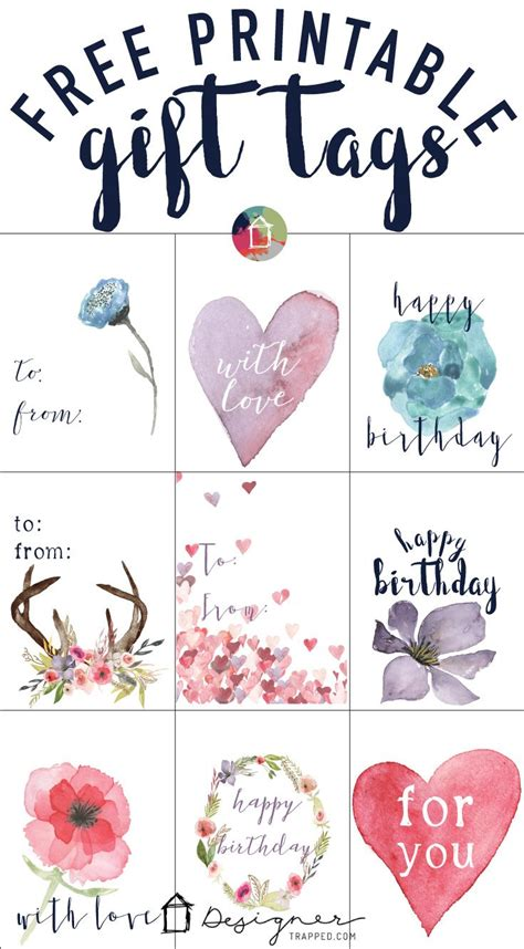 Free Printable Gift Tags For Birthdays  Designer Trapped