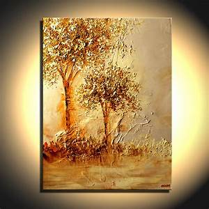 Painting - landscape of two golden trees mother nature #5994