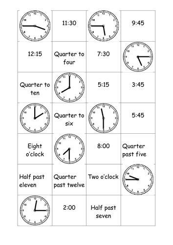 Time Matching Cards By Rosabellaangelica  Teaching Resources Tes