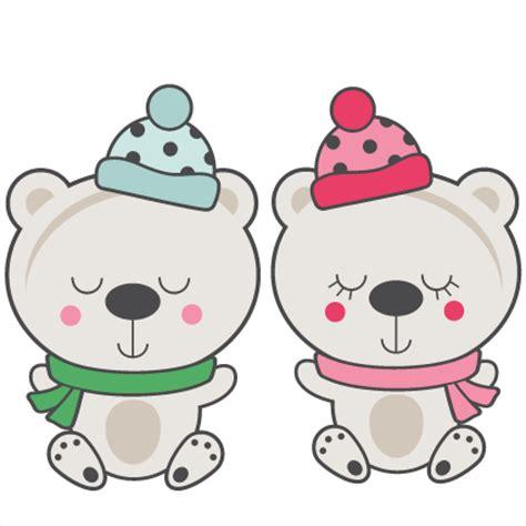 Black white animals heads free vector. Polar Bear Couple SVG scrapbook cut file cute clipart ...
