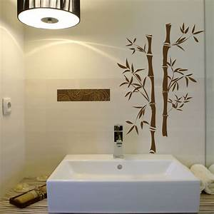 Asian bamboo vinyl wall decals for Wall art stickers for bathrooms