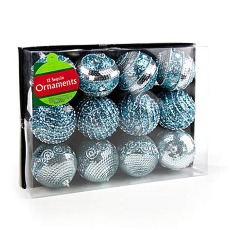 view ice blue sequin ball ornaments 12 pack deals at big lots