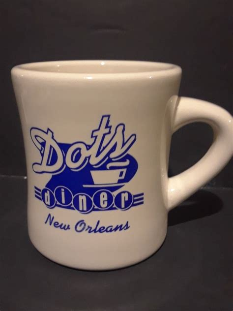 Customized mugs speak to their recipients on a more personal level, making them feel. Heavy Coffee Mug Dots Diner New Orleans Advertising Restaruant Ware White Blue | Mugs, Coffee ...
