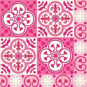 serviette paviot imprime carreaux de ciment rose fuchsia With carreaux de ciment rose