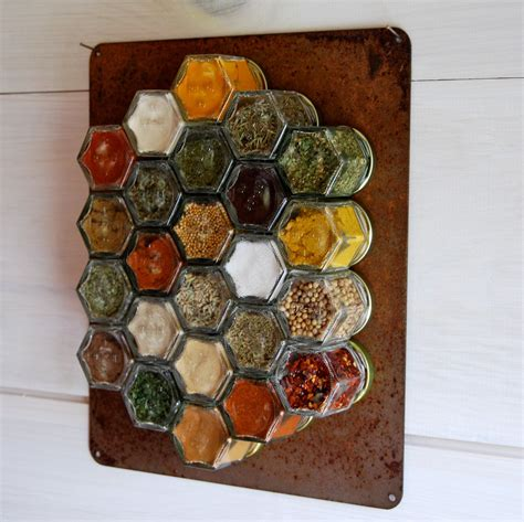 rustic home decor hanging magnetic spice rack  empty small hexagon jars spice labels