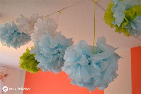 faschingsdeko basteln mit kindern diy pompoms selbermachen kreativ garden