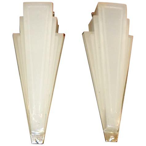 deco lighting sconces stepped opaque glass sold