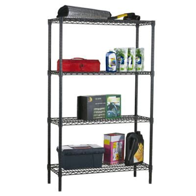 bed bath and beyond bathroom shelving unit home basics 174 4 tier wire shelf in black