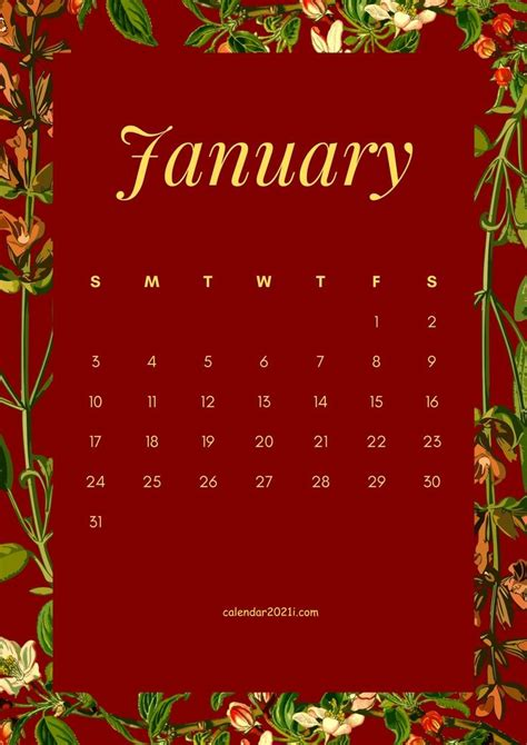 january  flower calendar template featuring