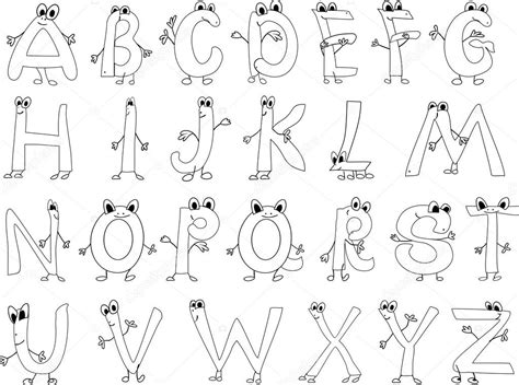 Coloring Page Funny English Alphabet