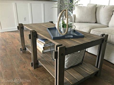 rustic farmhouse coffee table sawdust  stitches