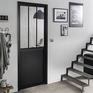 bloc porte noir atelier verre clair artens h204 x l73 With porte de garage coulissante avec porte vitree d interieur