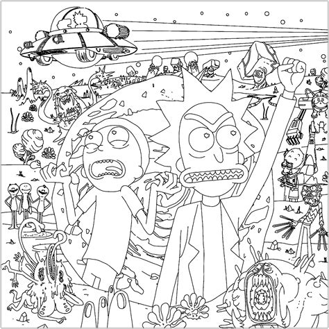 rick  morty   space tv shows adult coloring
