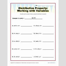 Distributive Property With Variables Worksheets 6th And