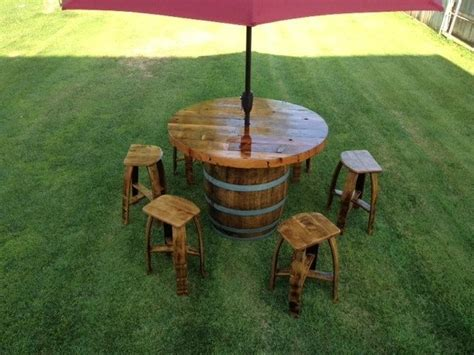 custom made wine barrel umbrella table set by wyld at