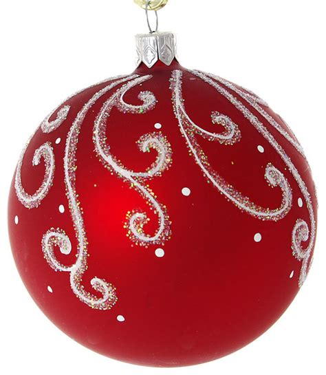 snowy pattern hand painted glass christmas ornament red