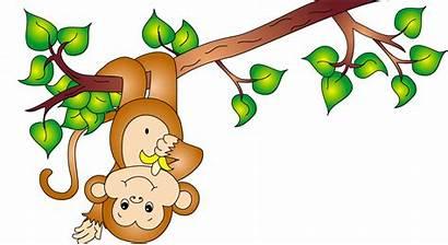 Monkey Hanging Clipart Cartoon Clip Tree Monkeys