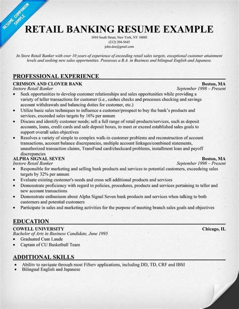 Bank Resume by Retail Banking Resume Help Resume Sles Across All